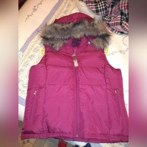 puffer vest with faux fur rimmed hoods
